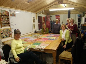 Seven quilters having fun!