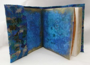 Blue Embellished Sketchbook Open