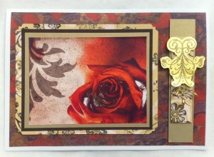Rose card with bleach background papers